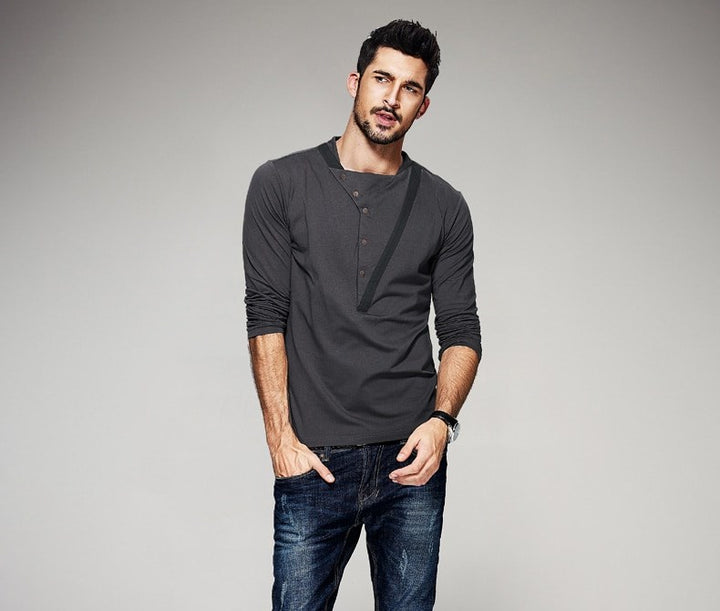 Men's Spring/Autumn  Patchwork Long-Sleeved Slim Fit T-Shirt