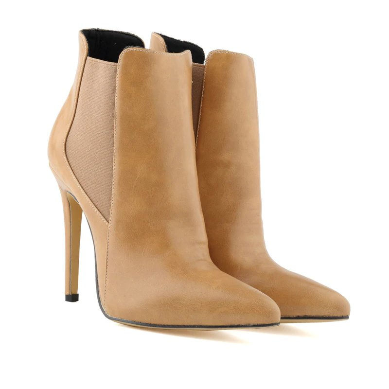 Women's Winter Thin PU Leather High-Heeled Ankle Chelsea Boots