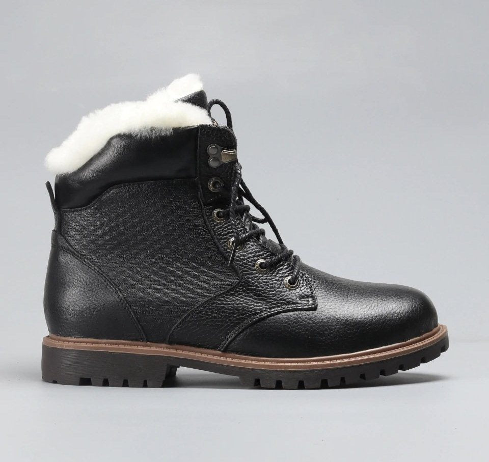 Men's Winter Genuine Leather Natural Wool Shoes