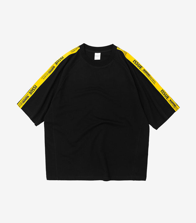 Men's Summer Cotton Loose T-Shirt With Tapes On Sleeves