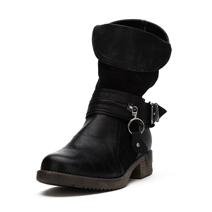 Women's Winter Warm PU Leather Western Boots With Decorative Metal Zipper