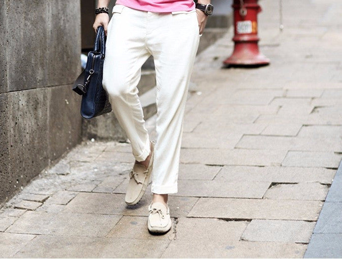 Men's Slim Fit Linen Casual Ankle Length Trousers - Zorket