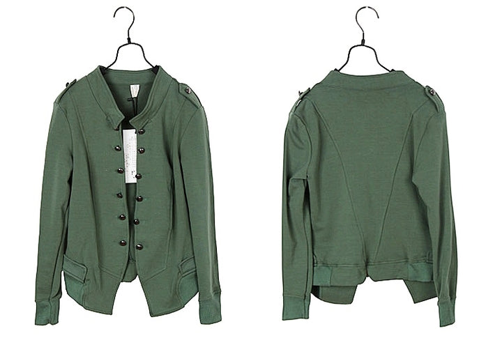 Women's Autumn Cotton Long Sleeved Solid Stand-Collar Jacket