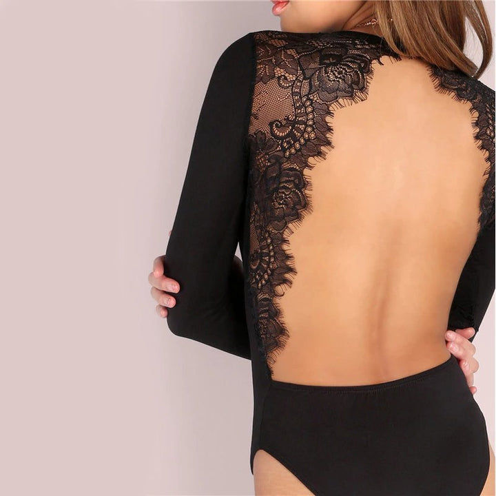 Women's Summer Backless Lace Long-Sleeved Slim Bodysuit