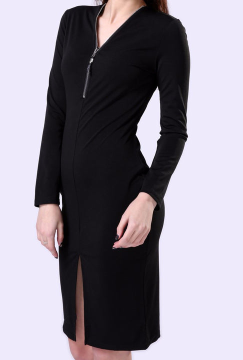 Female Casual Autumn V-Neck Dress With Zipper - Zorket
