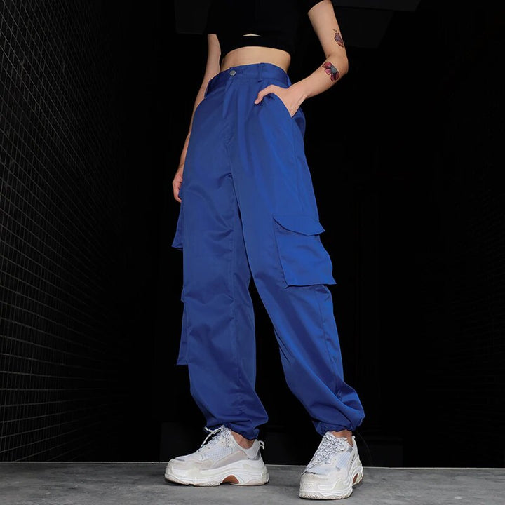 Women's Spring/Autumn High-Waist Loose Multi-Pocket Cargo Pants