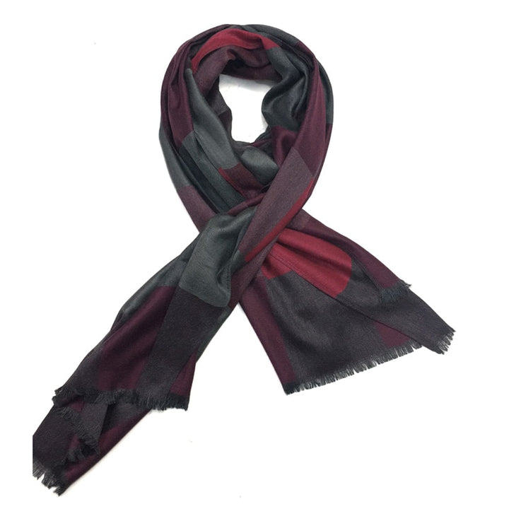 Men's Winter Plaid Cold-Proof Woolen Scarf
