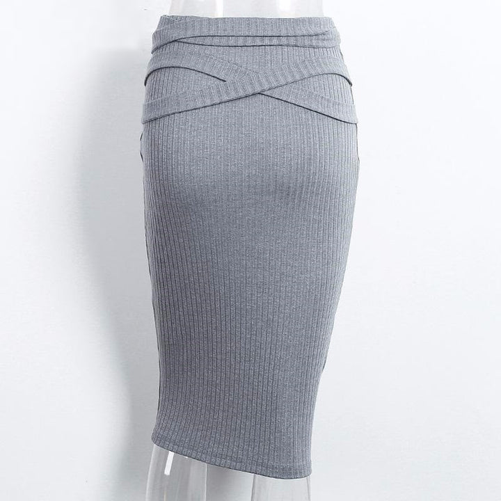 Autumn Grey High Waist Pencil Knitted Skirt - Zorket