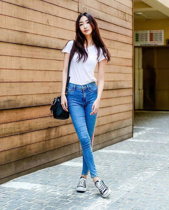 Women's Spring/Summer Side Striped Ankle-Length High Waist Skinny Jeans
