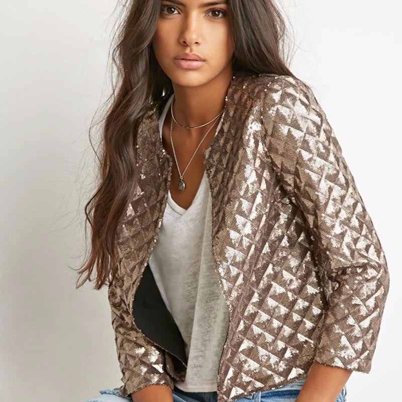 Women's Spring Lozenge Golden Glittered Jacket