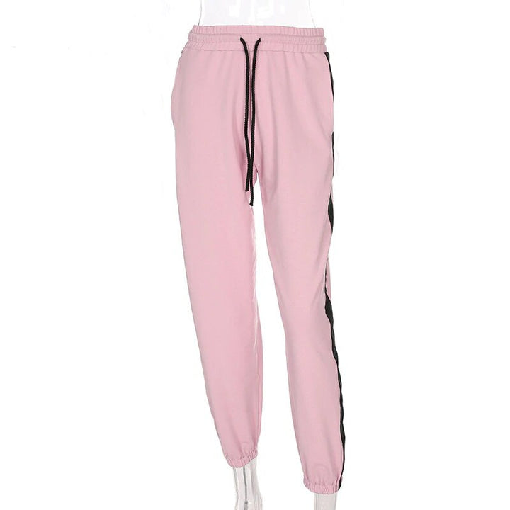 Women's Summer Cotton High-Waist Fitness Joggers With Side Stripes