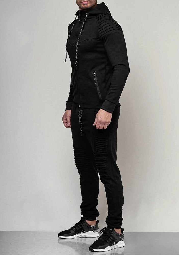 Men's Autumn Hooded Pleated Tracksuit With Zipper