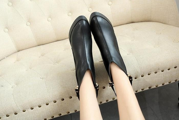 Boots – Female PU Leather Pointed Toe Boots | Zorket
