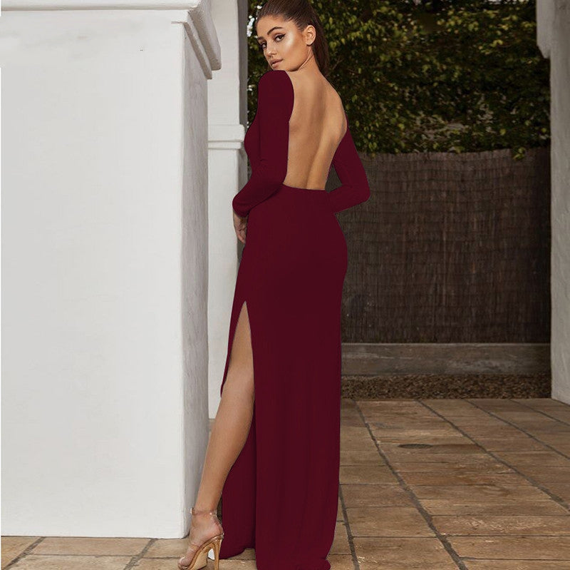 Women's Autumn Backless Long-Sleeved Maxi Dress With High Split