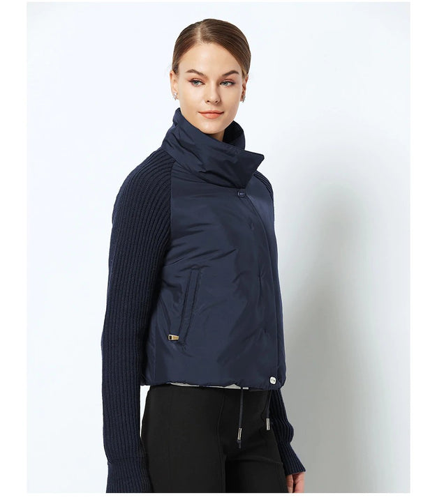 Women's Spring Cotton-Padded Short Jacket With Knitted Sleeves