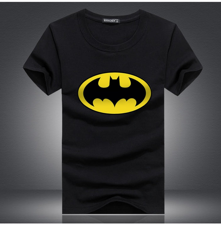 Men's Summer Elastic Short-Sleeved T-Shirt With Batman Print