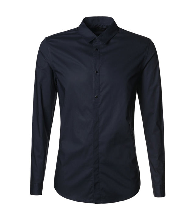 Men's Spring/Autumn Basic Slim Fit Long-Sleeved Cotton Shirt