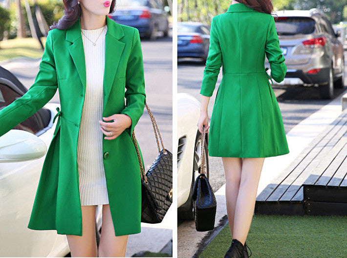Stylish Women's Autumn Medium Long Elegant Trench Coat - Zorket