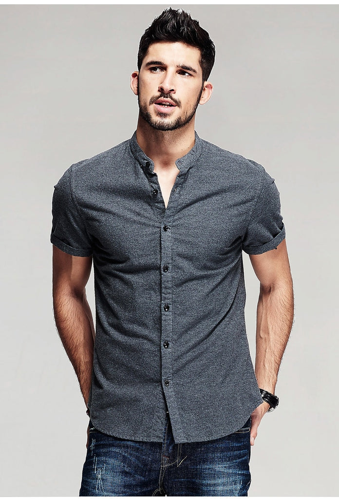 Men's Summer Casual Cotton Short-Sleeved Slim Fit Shirt