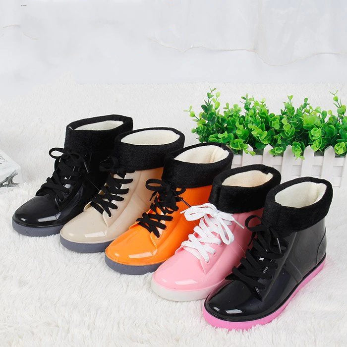 Women's Autumn/Winter Waterproof Rubber Rain Boots With Fleece Inside