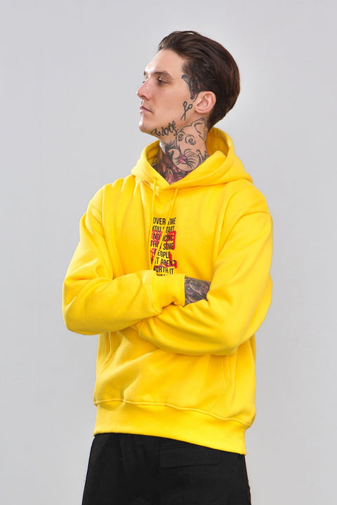 Men's Autumn/Winter Casual Fleece Hoodie With Printed Letters