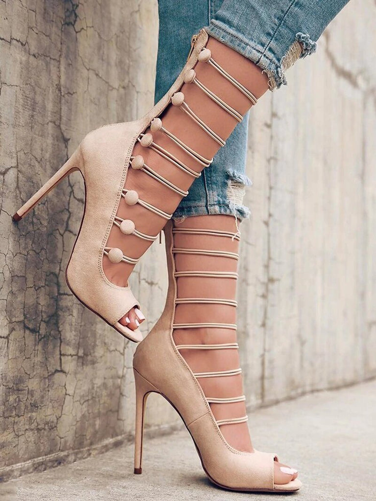 Women's Spring/Summer High-Heeled Strappy Pumps With Peep Toe