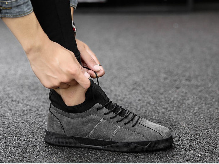 Men's Spring/Autumn Casual Suede Leather Lace-Up Flat Sneakers