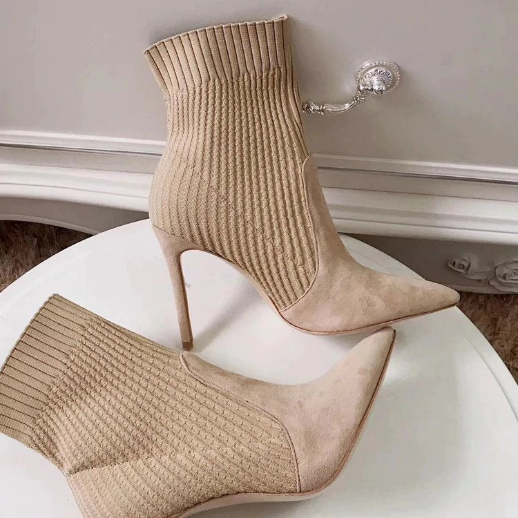 Women's Autumn/Winter Knitted High-Heeled Ankle Sock Boots
