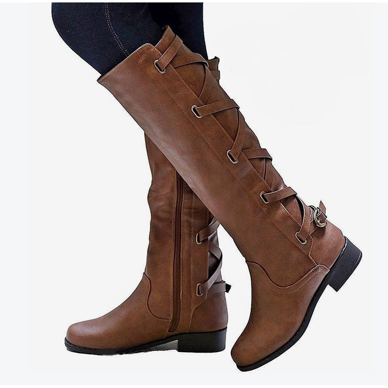 Women's Autumn Casual Zipped High Boots Laced Up With Buckles