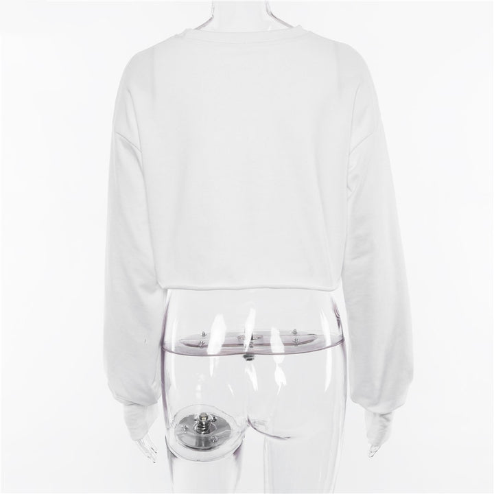 Women's Autumn Cotton Long-Sleeved Cropped Sweatshirt