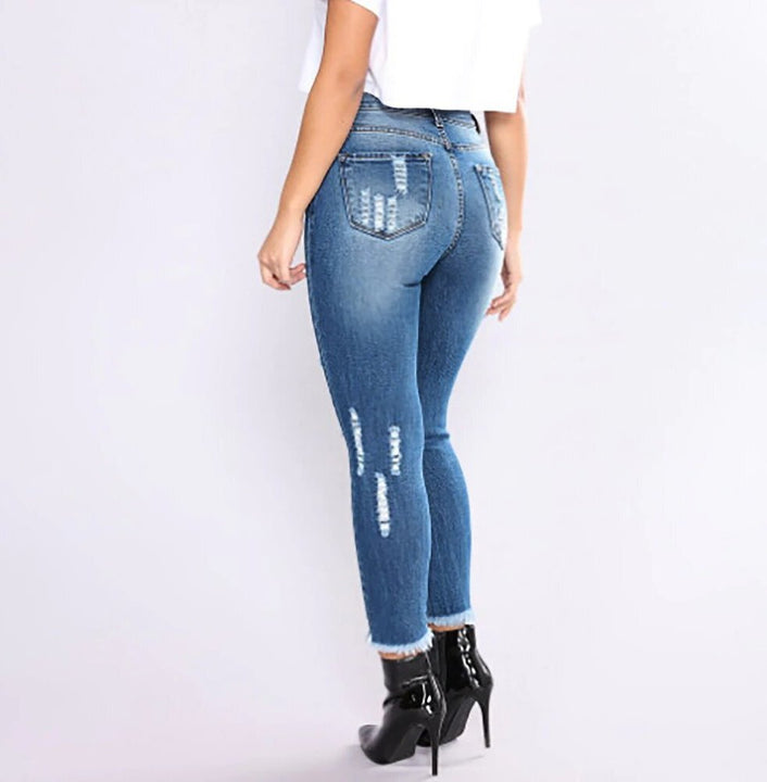 Women's Spring/Autumn High Waist Stretch Slim Ripped Jeans