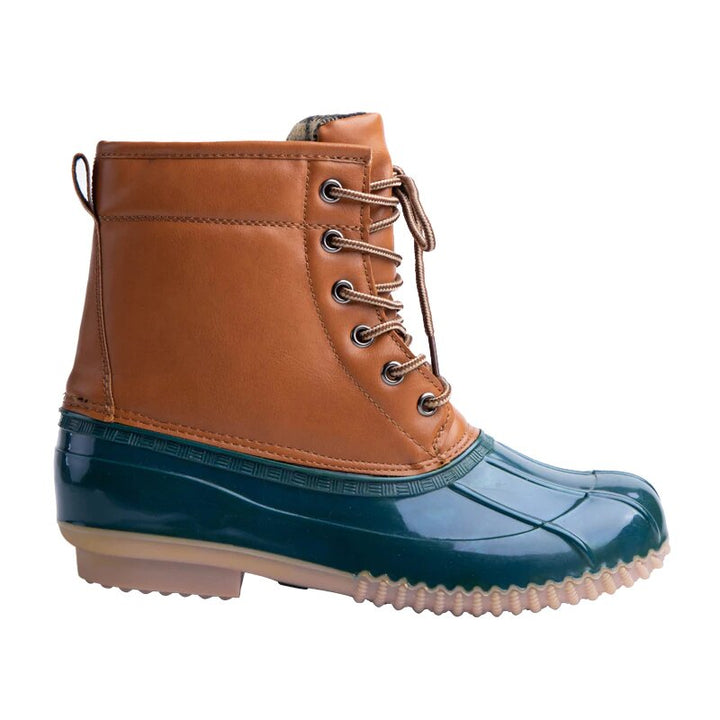 Women's Winter PU Leather Waterproof Cross-Tied Rain Boots