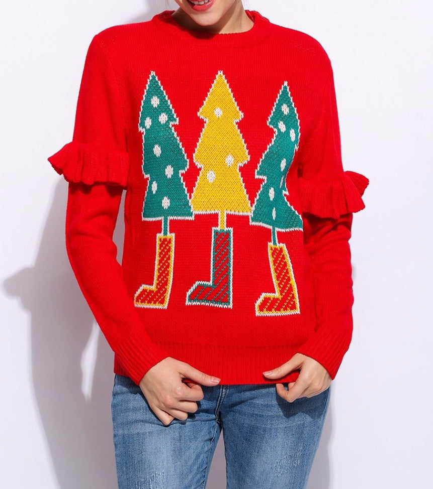 Autumn & Winter Warm Women's Loose Pullover With Christmas Trees - Zorket