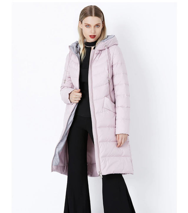 Women's Winter Warm Hooded Bio-Down Long Coat