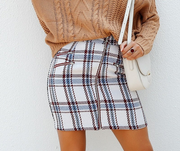Women's Autumn/Winter Front Zipper Tweed Skirt