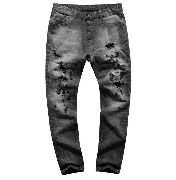 Men's Autumn/Winter Washed Straight Ripped Jeans