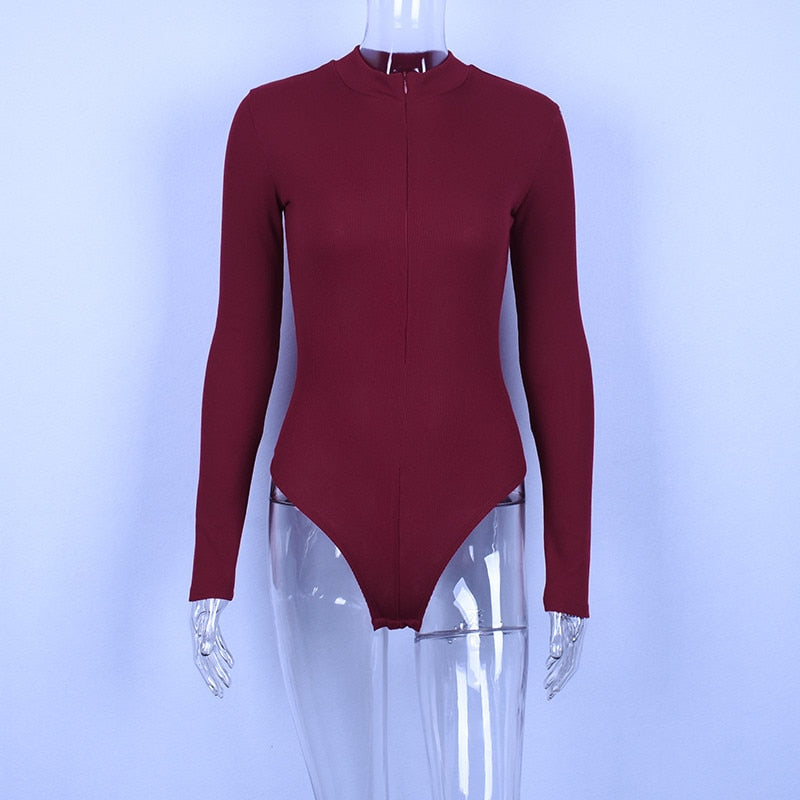 Women's Autumn/Winter Long-Sleeved Bodycon With Zippered High Neck