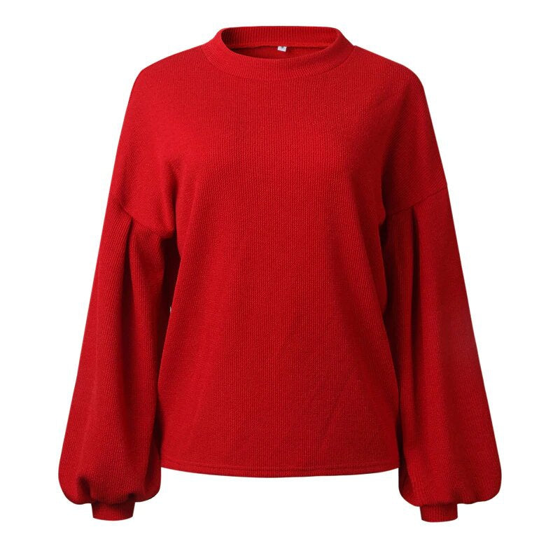 Women's Autumn/Winter Loose Knitted Sweater With Lantern Sleeves
