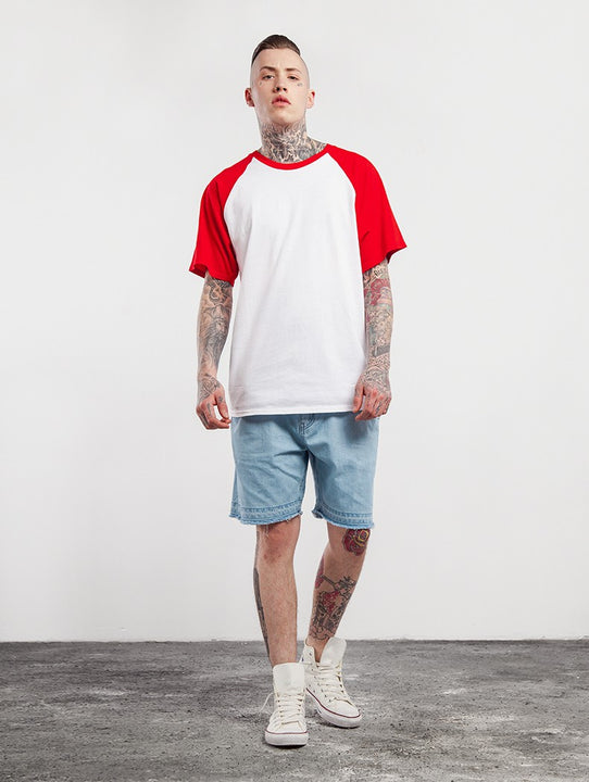 Men's Summer Casual Cotton Short-Sleeved Raglan T-Shirt