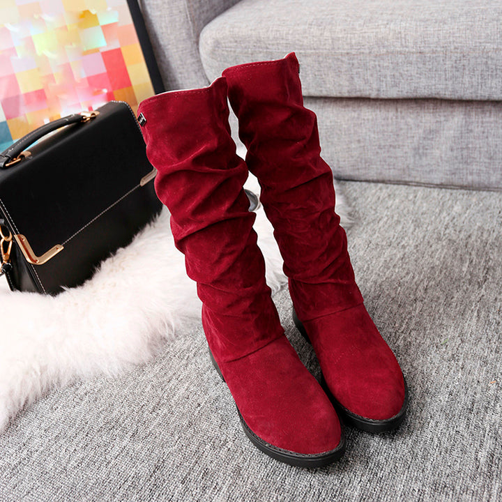 Women's Autumn/Winter Flock Flat Snow High Boots