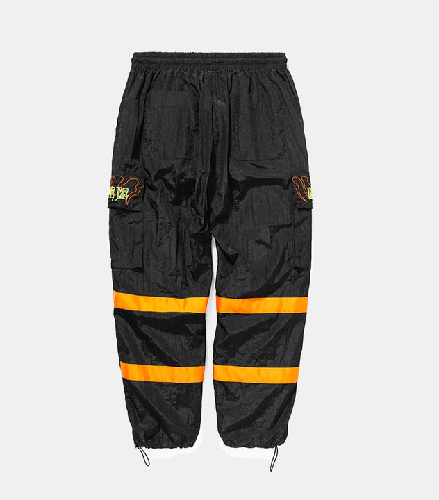 Men's Spring/Autumn Nylon Loose Cargo Pants With Fluorescent Stripes