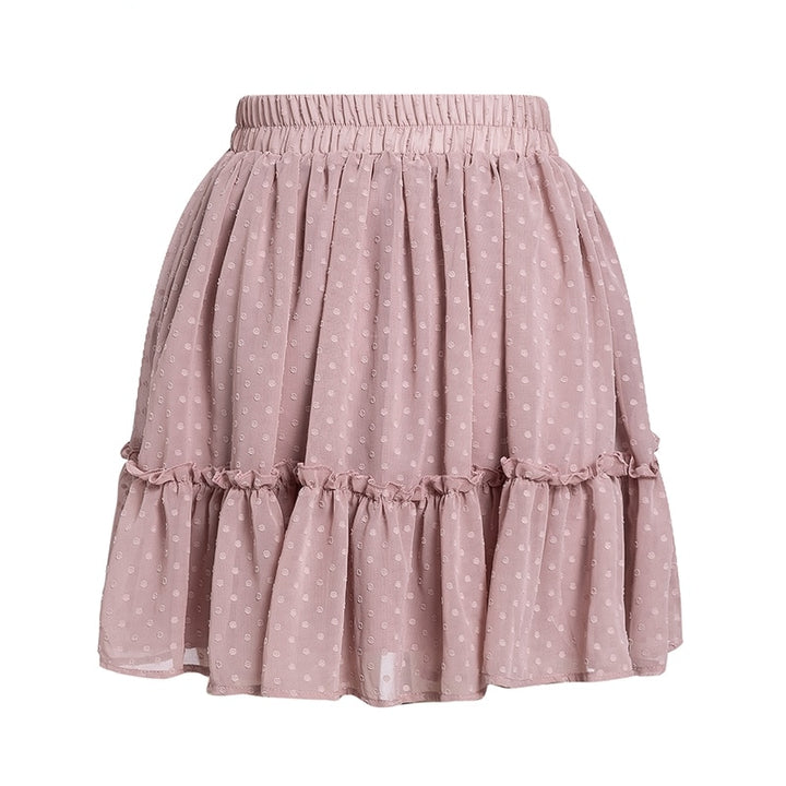 Women's Summer High Waist Ruffled Short Pleated A-Line Skirt