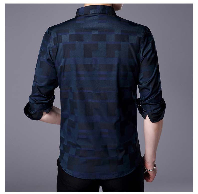 Men's Spring Casual Cotton Slim Long-Sleeved Shirt