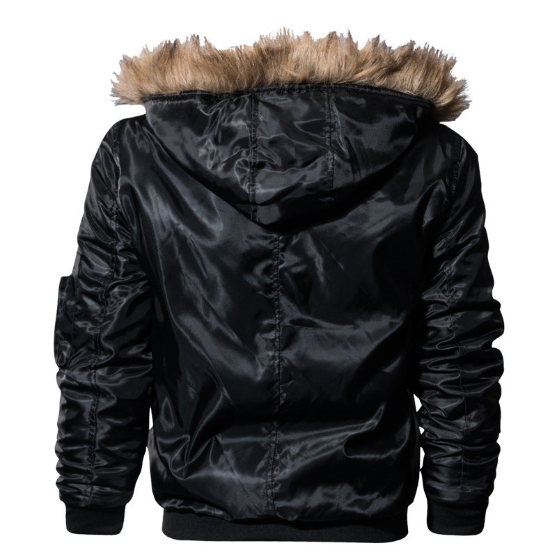 Men's Winter Warm Hooded Thermal Padded Bomber With Faux Fur Collar