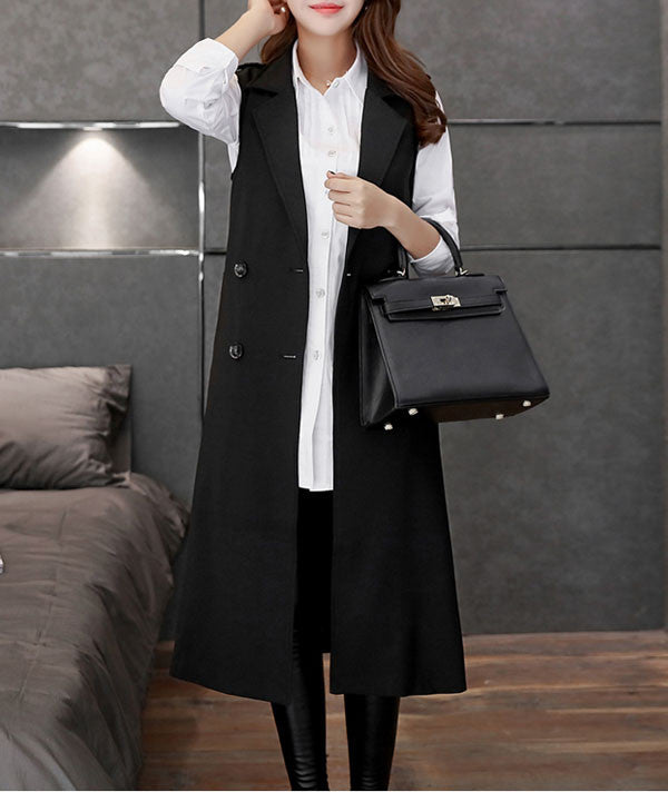 Autumn Long Women's Turn-Down Collar Waistcoat - Zorket