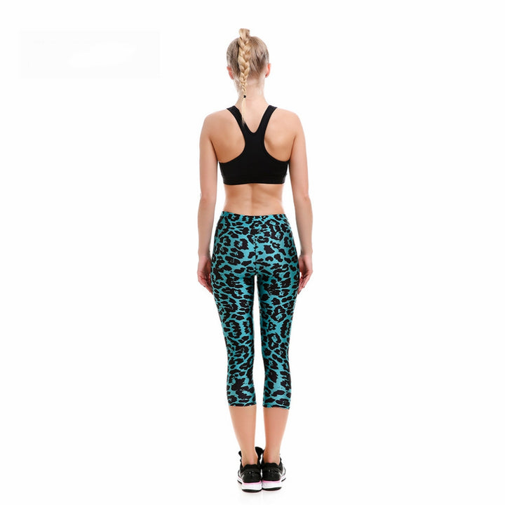 Women's Summer Slim Breathable Quick Dry Fitness Capris With Leopard Pattern