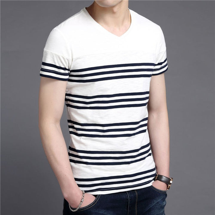 Men's Striped Slim Fit V-Neck T-Shirt - Zorket