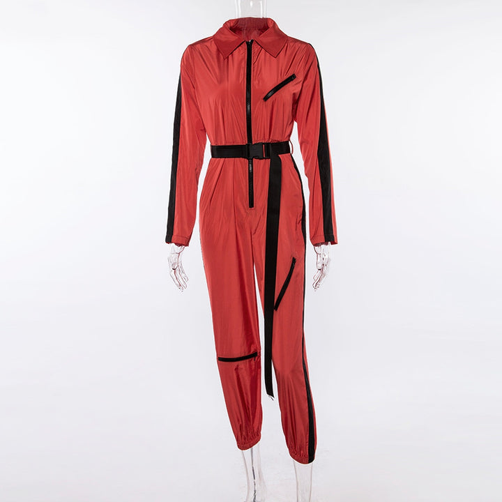 Women's Autumn/Winter Long-Sleeved Striped Patchwork Jumpsuit With Turn-Down Collar