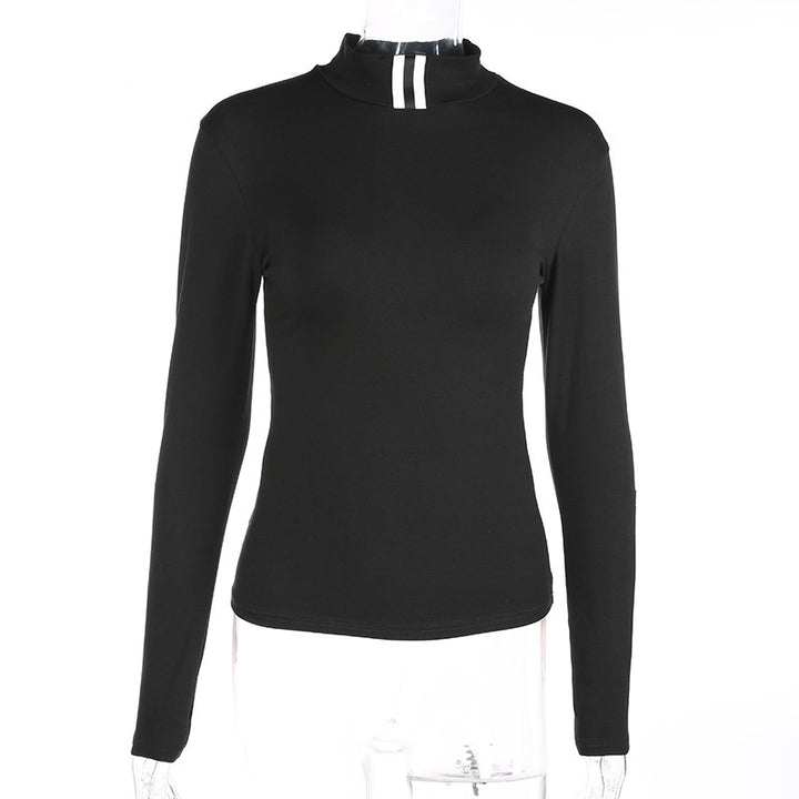 Women's Spring/Autumn Striped Long-Sleeved Tight T-Shirt With Turtleneck