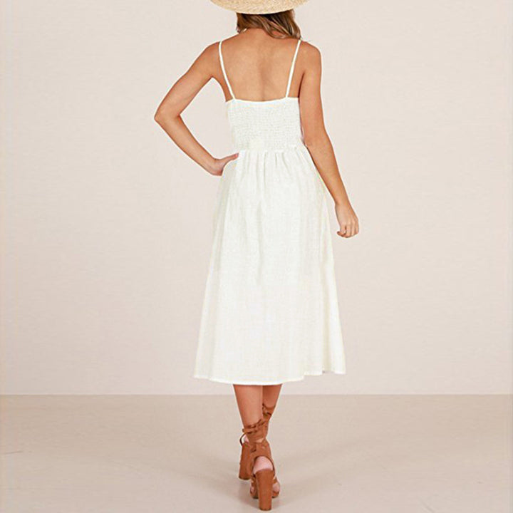 Women's Summer Vintage A-Line Strappy Backless Beach Dress